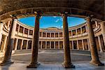Courtyard of the Palace of Charles V or Palacio de Carlo V, Alhambra palace, Granada, Andalusia, Spain