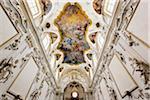 Interior of Church of Saint Mary of Gesu (Chiesa del Gesu) in Palermo, Sicily, Italy