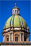 Close-up of the grand, chevron patterned dome of San Giuseppe dei Teatini church near Piazza Pretoria (Pretoria Square) in historic center of Palermo in Sicily, Italy