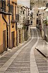 Cobblestone Street in Giuliana, Province of Palermo, Sicily, Italy