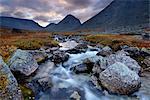 Landscape of Malaya Belaya river valley, Khibiny mountains, Kola Peninsula, Russia