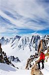 Europe, France, Haute Savoie, Rhone Alps, Chamonix, climber on  Aiguille de Argentiere