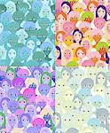 set faces of women, girls blue. seamless vector illustration