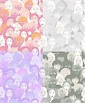 set faces of women, girls graphics monochrome seamless vector illustration