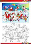 Coloring Book Cartoon Illustration of Santa Claus and Christmas Characters Group