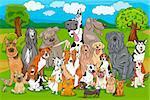 Cartoon Illustration of Purebred Dogs Large Group against Rural Landscape or Park Scene