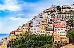 Cliff side buildings, Positano, Amalfi Coast, Italy