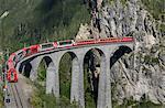 Train on the Landwasser Viaduct, Filisur, Splugen, Canton Graubunden, Switzerland