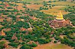 Aerial view of the ancient city of Bagan where more than 2200 ancient temples remain of the original 10000, Bagan (Pagan), Myanmar (Burma), Asia