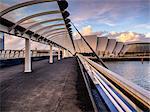 A stunning sunset over Bells Bridge, Glasgow, Scotland, United Kingdom, Europe