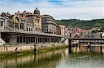Bilbao-Abando railway station and the River Nervion, Bilbao, Biscay (Vizcaya), Basque Country (Euskadi), Spain, Europe
