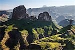 Ethiopia, Amhara Region, Simien Mountains.  Rugged peaks of the Simien Mountains. Distant Mount Ras Dashan rises to 4550m above sea level.