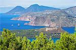 Europe, Italy, Sicily, Aeolian Islands, Vulcano Island, High angle view of  Lipari and Salina Islands,