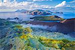 Europe, Italy, Sicily, Aeolian Islands, Vulcano Island, High angle view of , Aeolian Islands from Vulcano island Gran Cratere,