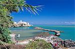 Italy, Italia. Apulia, Puglia, Foggia district. Gargano, Vieste. Old town and Punta di San Francesco. (San Francesco promanade)