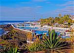 Spain, Canary Islands, Tenerife, Puerto de la Cruz, View of the Martianez Pools designed by Cesar Manrique.
