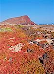 Spain, Canary Islands, Tenerife, La Tejita, View towards Montana Roja near El Medano.