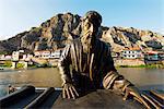 Turkey, Central Anatolia, Amasya, Hatuniye Mahallesi historic neighbourhood, statue of Cografyaci Strabon a Turkish philosopher