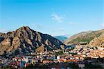 Turkey, Central Anatolia, Amasya; City view and Harsena Castle on the hill