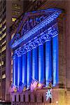 New York Stock Exchange enlightened by night, Wall Street, Lower Manhattan, New York, USA