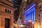 New York Stock Exchange with Christmas tree by night, Wall Street, Lower Manhattan, New York, USA