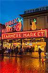 Pike Place Market at night, Seattle, Washington, USA