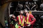 Engineers working on oil rig