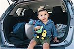 Male toddler sitting on car boot, Pelham Bay Park, Bronx, New York, USA