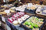 Various sweet food on display in supermarket