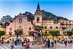 San Giuseppe Church at Dusk in Piazza IX Aprile, Taormina, Sicily, Italy