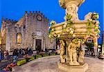 Fountain in front of Duomo di Taormina in Piazza del Duomo, Taormina, Sicily, Italy