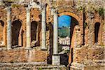 Archway and Pillars at Teatro Antico di Taormina in Taormina, Sicily, Italy
