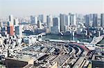 Tilt-shift bird's eye view of Tokyo cityscape, Tokyo, Japan