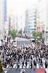 Tilt-shift bird's eye view of Shibuya, Tokyo, Japan
