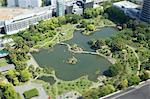 Tilt-shift bird's eye view of Old Shiba-Rikyu Garden, Tokyo, Japan
