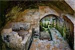 Interior of Sassi Cave Dwelling Church in Matera, Basilicata, Italy