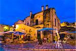 Restaurant Patio at Dusk in Matera, Basilicata, Italy