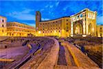 Roman Amphitheatre and Palazzo del Seggio in Piazza Sant'Oronzo at Dusk, Lecce, Puglia, Italy