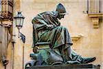 Bronze statue of the Italian sculptor Antonio Bortone in the historic center of Lecce in Puglia, Italy