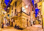 Street Scene at Night in Bari, Puglia, Italy