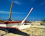 Prahu boats, Sanur Beach, Bali, Indonesia, Southeast Asia, Asia