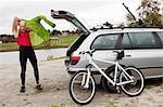 Mature man setting off for mountain bike ride