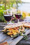 Panini and red wine