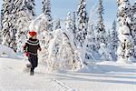 Person running through snow