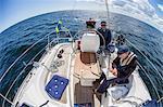 Senior men on boat