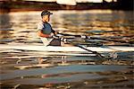 Mid-adult man sea rowing