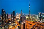 Burj Khalifa and Downtown skyline by night, Dubai