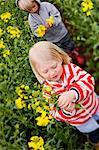 Children picking oilseed rape flowers