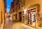 Shop in Alley at Dusk in Rovinj, Istria, Croatia