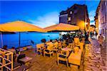 Restaurant Patio at Dusk in Rovinj, Istria, Croatia